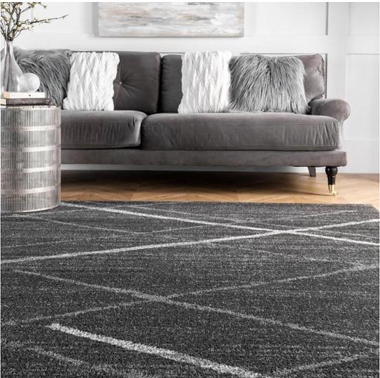Thigpen Contemporary Stripes Dark Gray 8 ft. x 12 ft. Area Rug