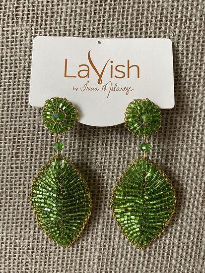 Green Leaf Crochet Earring