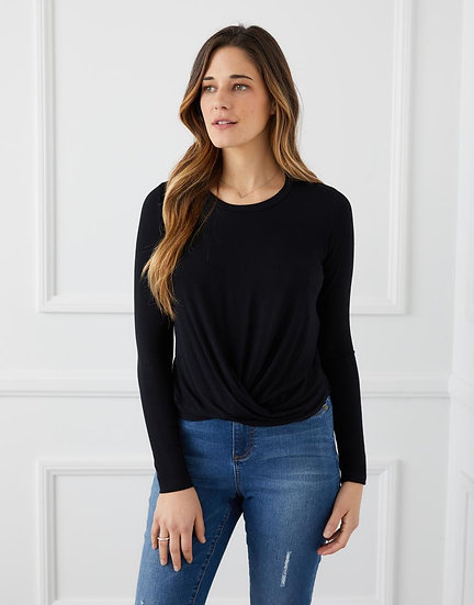 Long Sleeve Twist-Front Top