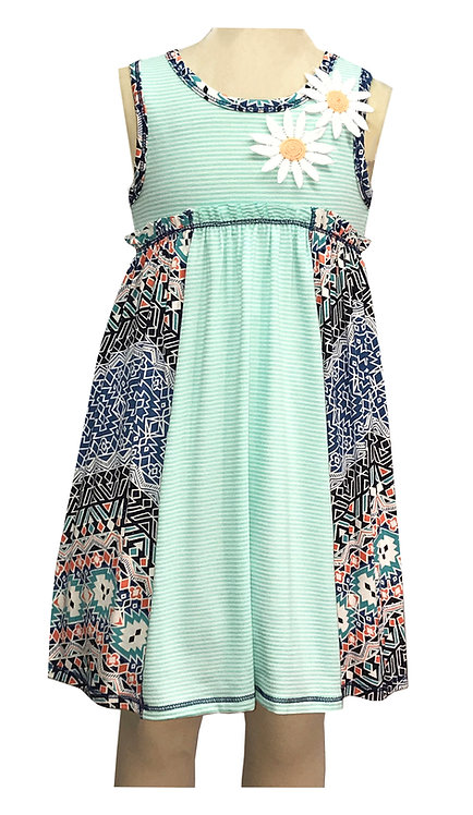 Mint Daisy Sleeveless Dress - SK2214