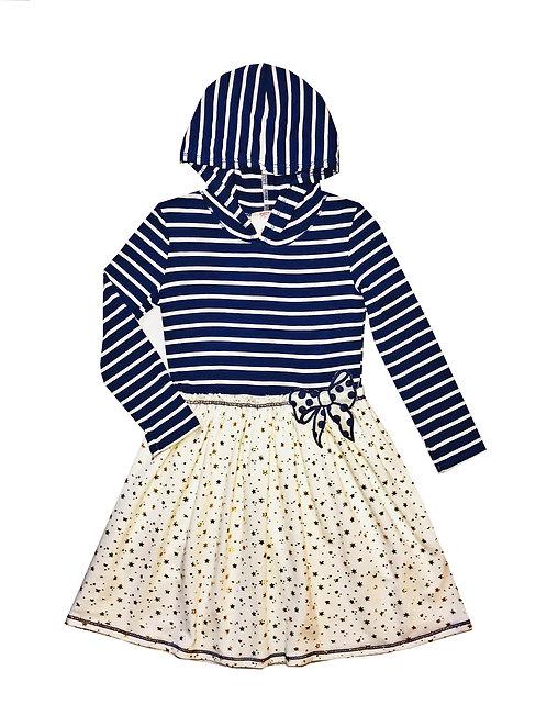 VX3710XQ Ivory and Navy Stripe Hoodie Dress