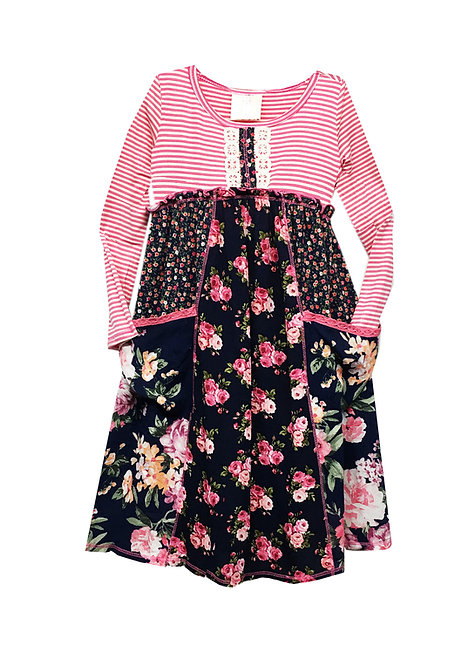 SK2254 Long Sleeve Panel Pocket Dress