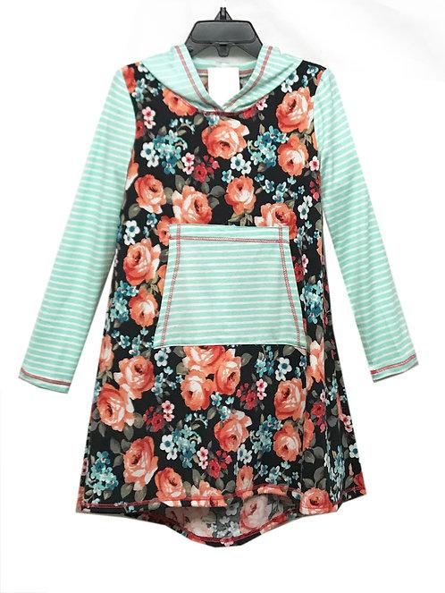 SK2251 Floral/Stripe Hoodie Dress