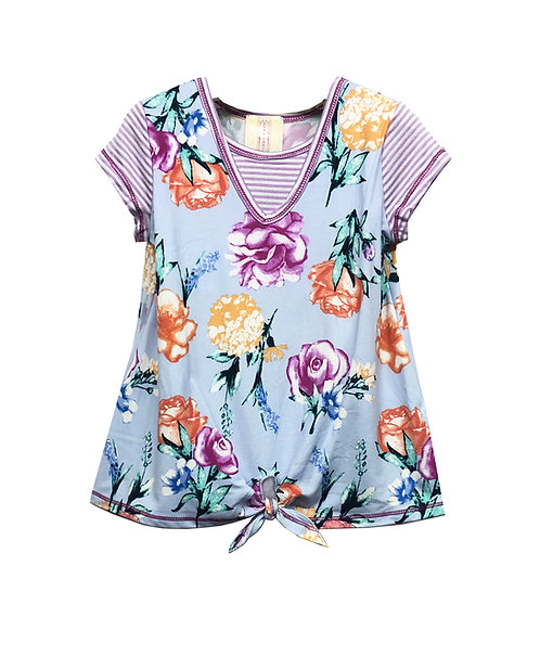 Tie Front Two-fer Floral Top - VX2235WD