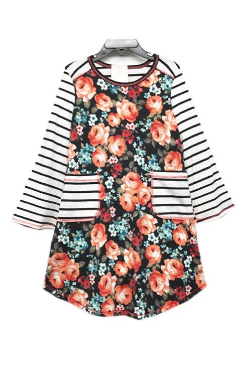 SK2256 Bell Stripe Long Sleeve Pocket Dress