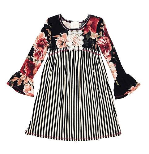 VX2150TW Bell Sleeve Black and Ivory Stripe Dress