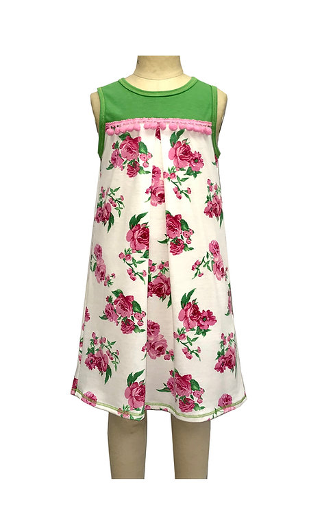 Pink and Green Floral Sleeveless Dress -TK3678SZ