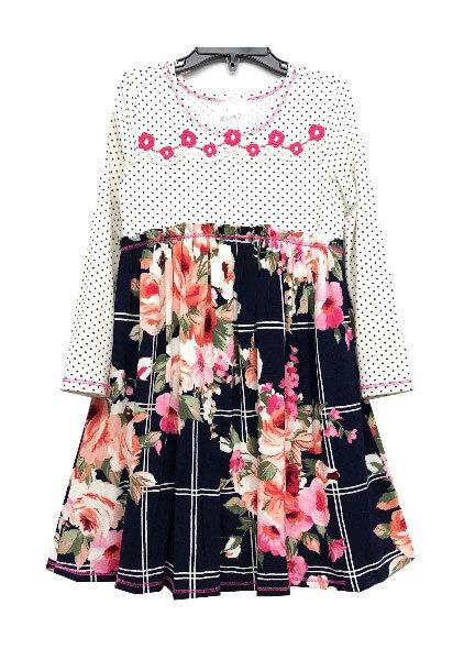 TX3711VX Navy Apricot Polka Dot Babydoll Dress