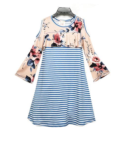 SK2245 Cold Shoulder Flounce Dress