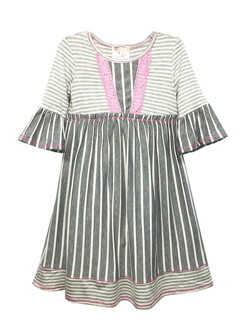 VX2105 BELL SLEEVE PINK AND GRAY DRESS