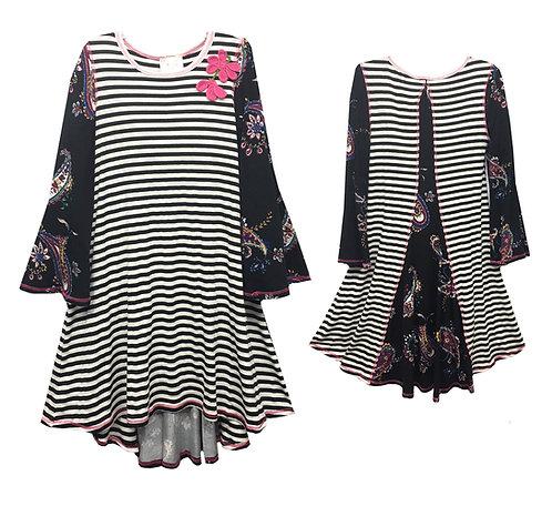 VK2189AK Black and White Stripe bell sleeve dress