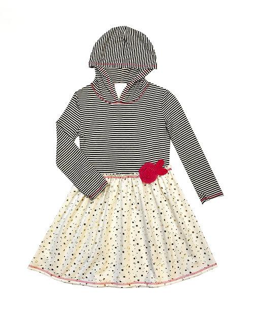 VX3710XN Ivory Black French Terry Hoodie Dress