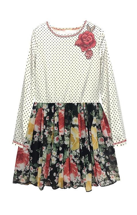 Polka Dot Mesh Skirt Dress - RX3707W