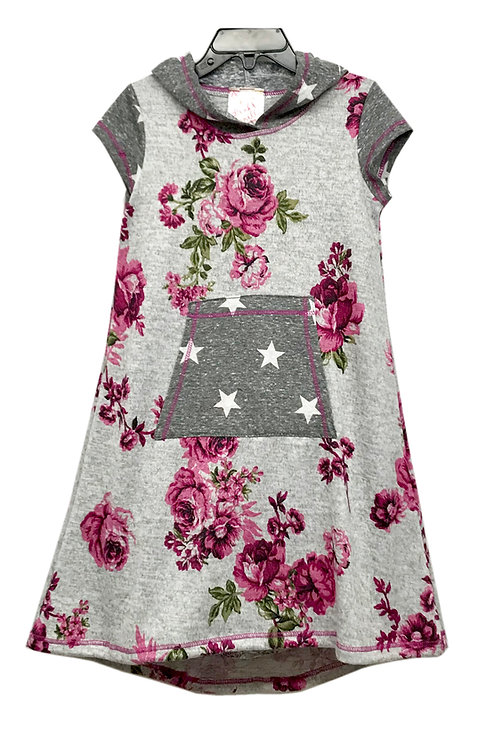 SK2242 Floral/Star Pocket Hoodie Dress