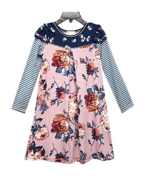 SK2243 Yoke 2-Fer Long Sleeve Dress