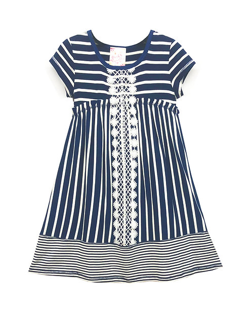 Navy Stripe Short Sleeve Dress - RX3717YB