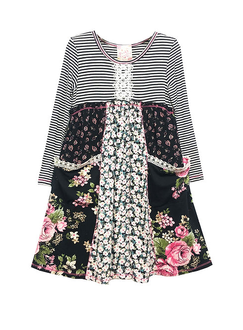 Black and White Long Sleeve Pocket Dress - RX3663VB
