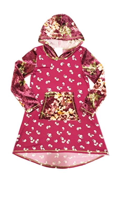 SK2271 Printed Velvet Long Sleeve Pocket Hoodie Dress