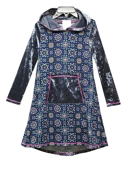 SK2269 Long Sleeve Pocket Hoodie Dress