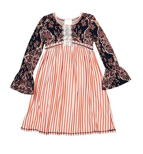 VX2150UU Blush Ivory Paisley Stripe Baby Doll Dress