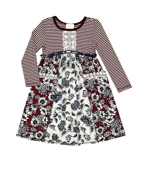 VX3713PY Burgundy and Navy Stripe and Floral Dress