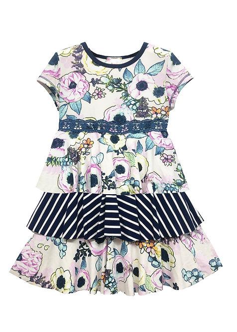 Flounce Skirt Short Sleeved Dress - RX3721YF