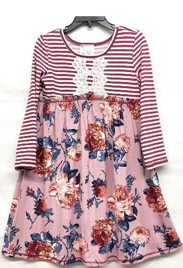 TX3711UV Mauve Burgundy Stripe Babydoll Dress