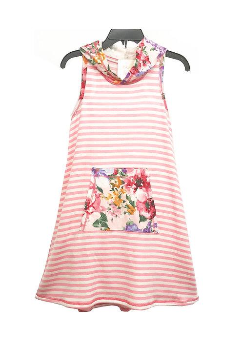 SK2302 Sleeveless Pocket Front Hoodie Dress