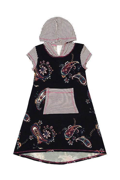 SK2234TK Plum Stripe Short-Sleeve Hoodie Dress