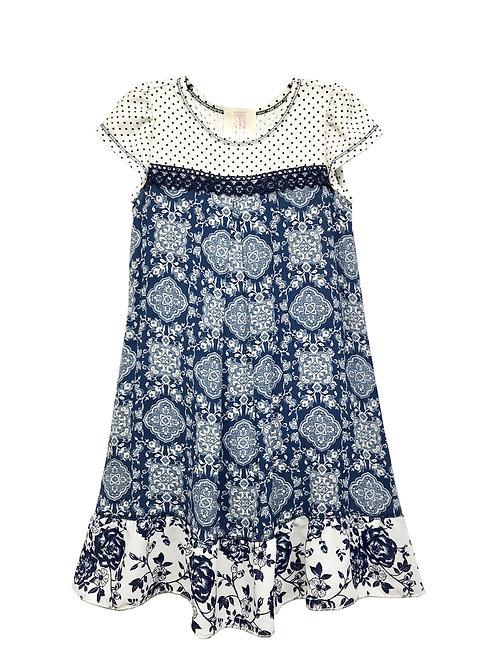 SK2291 Yoke Baby Doll Ruffle Flounce Dress