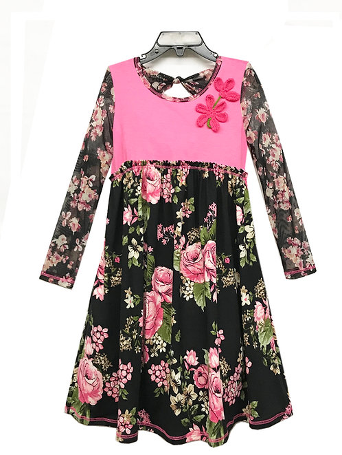SK2263 Bow Back Long Sleeve Dress