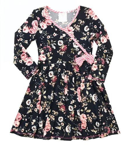 VX 3704UO Navy Floral Dress