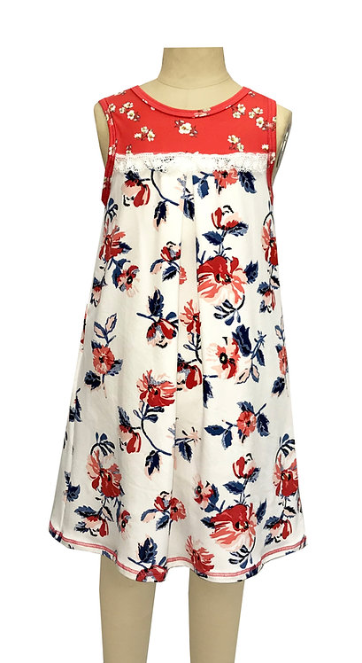 Ivory Red Floral Sleeveless Dress - TK3678-S