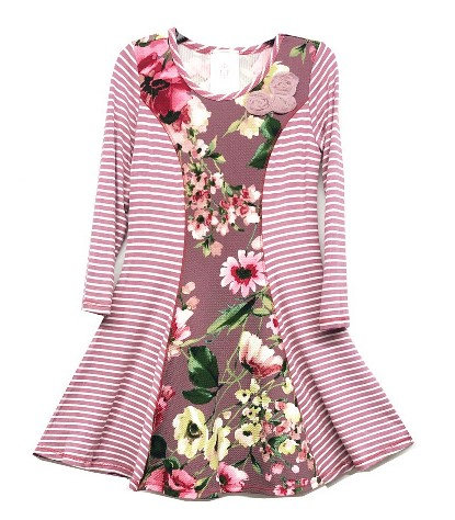 XK2188TH Orchid Floral Stripe A-line Dress