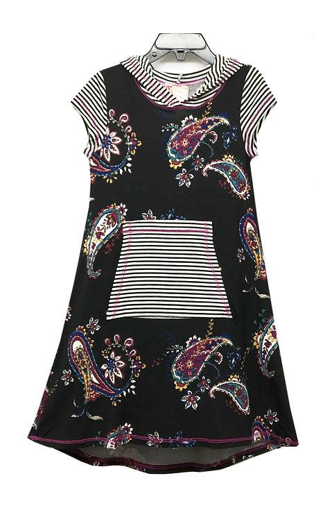 SK2234TK Black Multi Stripe/Print Hoodie Dress