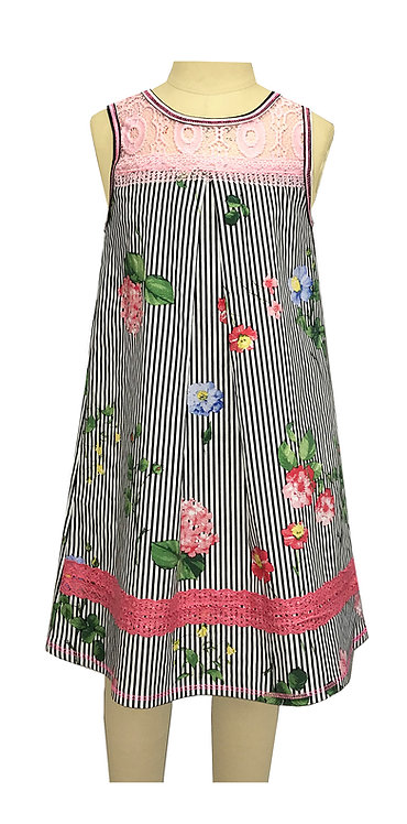 Black and Pink Stripe Floral - TK 3678PF