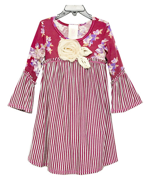 SK2265 Sweater Knit Bell Sleeve Dress