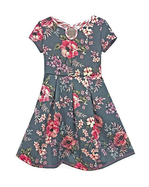 Grey Pink Keyhole Dress - RX3714XJ
