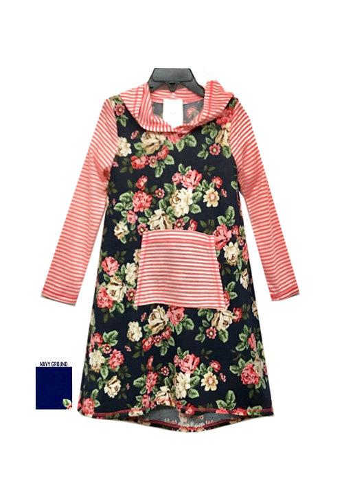 SK2252 Floral/Stripe Hoodie Dress