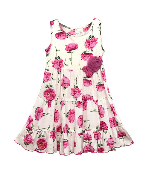 Pink Ivory Floral Tiered Dress - RX3718YC