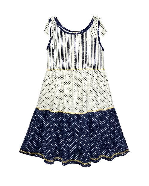 Navy and White Polka Dot Sleeveless Dress VX3697WO