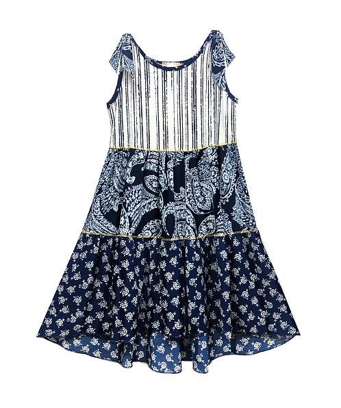 Blue Shoulder Tie Tiered Dress - RX3697WT