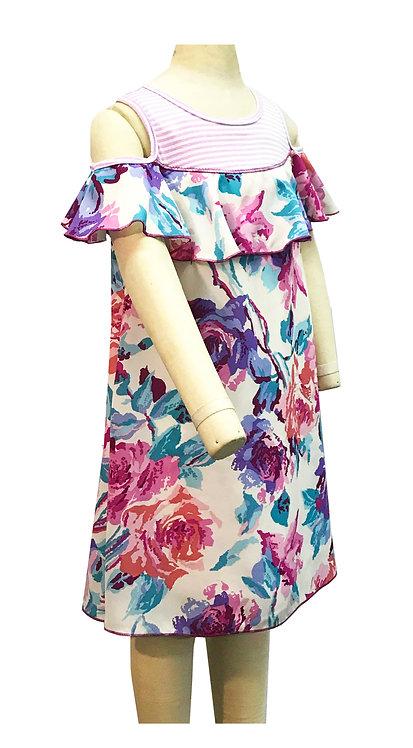 Lavender Floral Cutout Dress - XK3672SP