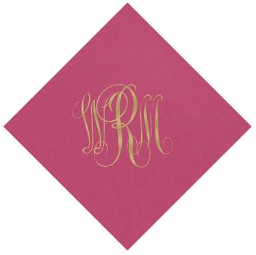 Solid Color Disposable Paper Monogrammed Cocktail Napkins Set of 100
