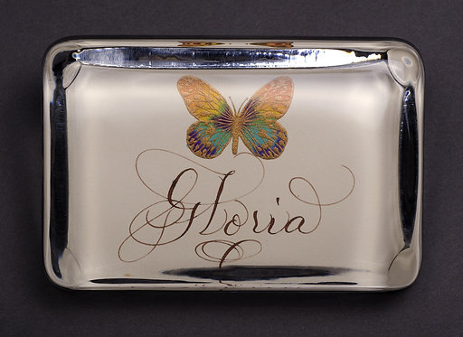 Custom Name Monogram Glass Butterfly Embossed Paperweight In Gift Box