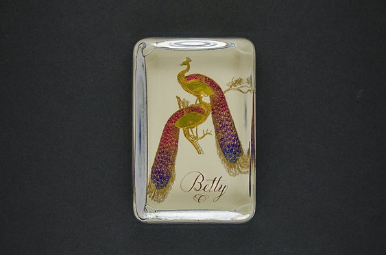 Custom Embossed Pair of Peacocks Monogram Name Glass Paperweight In Gift B