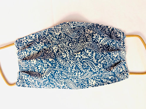 Blue and White Paisley Fabric Face Mask - Multiple Sizes - Filter or Classic