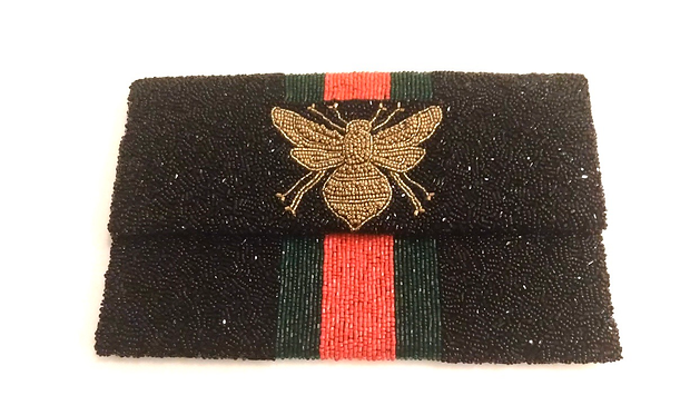 "Custom Monogram Large Bead Flap Clutch Handbag 6""x9"" BEE Stripe"
