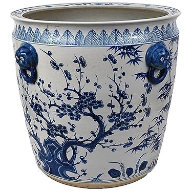 Blue & White Porcelain XL Planter - Branches | Flowers