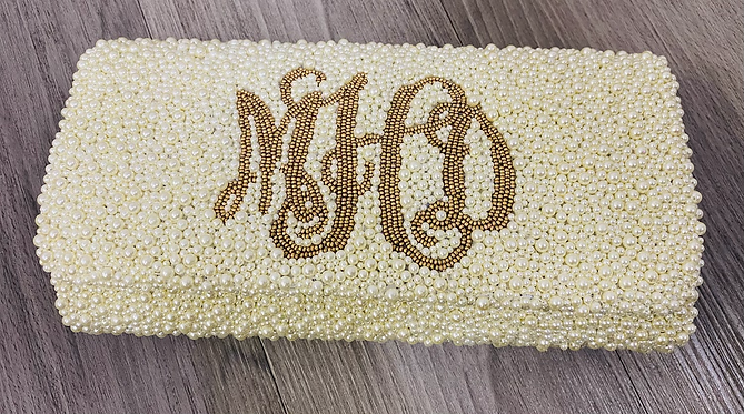 Pearl Custom Monogram Envelope Beaded Clutch Handbag With Chain Strap